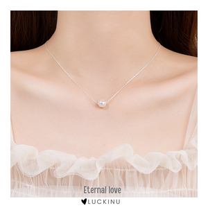 """Eternal love"" Sterling Silver Pearl Necklace-Jewelry-luckinu"