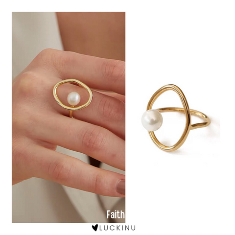 """Faith"" Pearl Open Ring-Jewelry-luckinu"