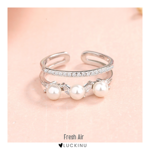 Fresh Air Sterling Silver Pearl Open Ring