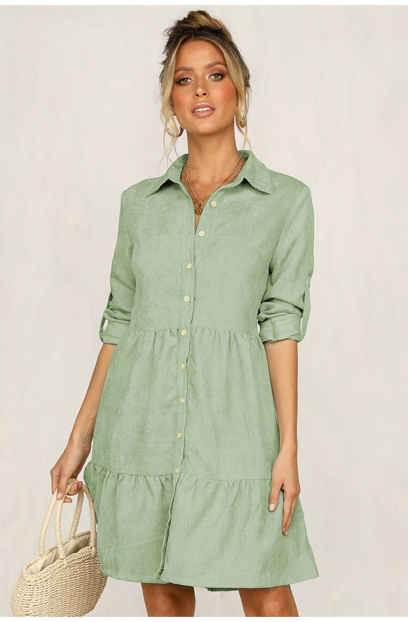 5 colors Solid Long Sleeve Shirt Dress New In