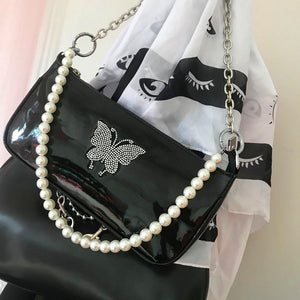Butterfly Glitter Pearl Chain Bag