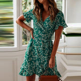 Women Dresses Summer Sexy V Neck Floral Print Boho Beach Dress Ruffle Short Sleeve A Line Mini Dress Wrap Sundress Robe