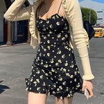 Load image into Gallery viewer, Women Ruffle Floral Spaghetti Strap Skirt Dress Fashion Sleeveless Chic Dress Korean Style