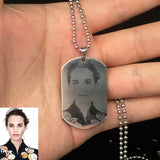 Ss Custom Photo Name Square Necklace