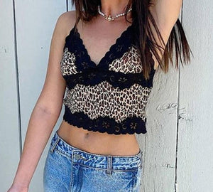 Women Sexy Sweet Leopard Black Lace Tank Top Camis Y2K Fashion Chic Stylish Top