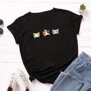 3 Cute Cat Cotton T Shirt