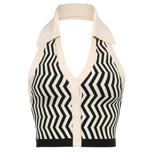 Retro Striped Sleeveless Top