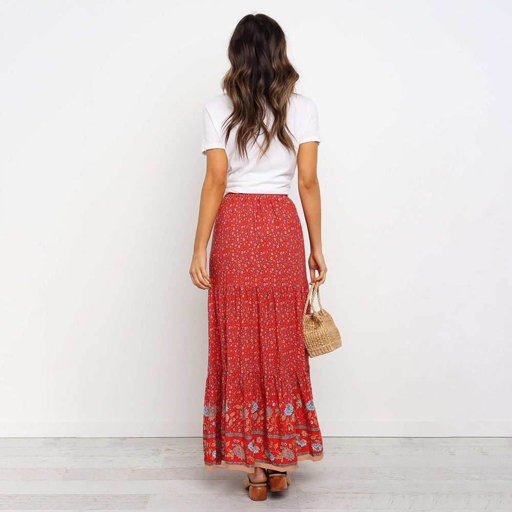 Retro Travel Long Skirt Purple Blue