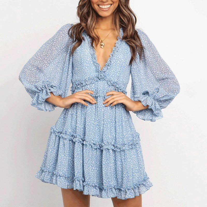Layered Ruffle Deep V Neck Dress Blue Dot