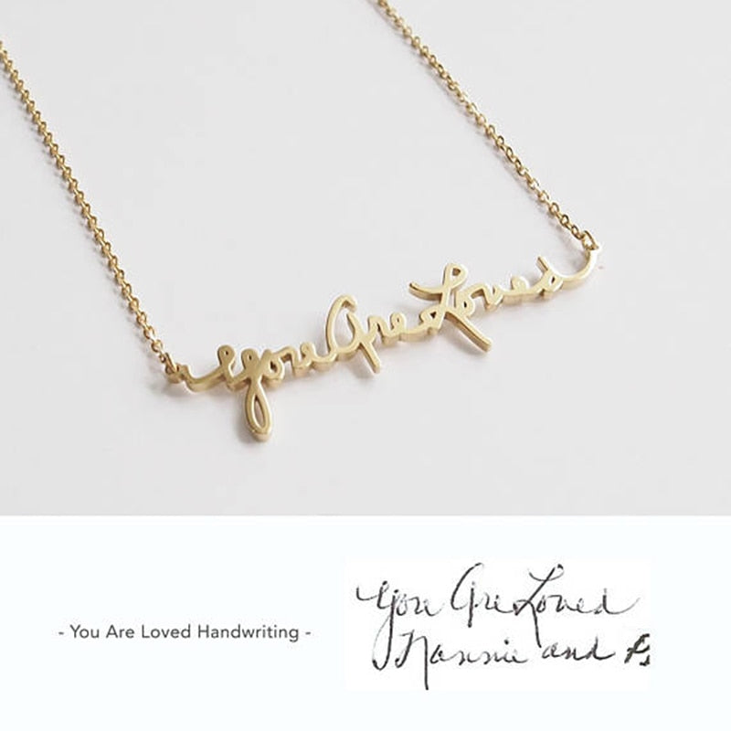 Custom Handwriting Necklace•Actual Signature Handwriting Jewelry•Name Statement Necklace