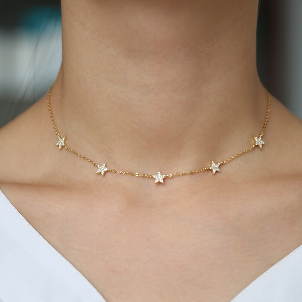 New Christmas gift vermeil 925 sterling silver cute star choker charm necklaces charming women jewelry fine silver necklace