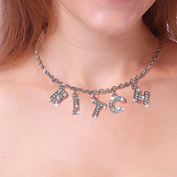 Bitch Letter Diamond Choker Necklace-Custom letters available