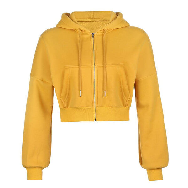 Women Chic Crop Zipper Up Hooded Jacket Coat