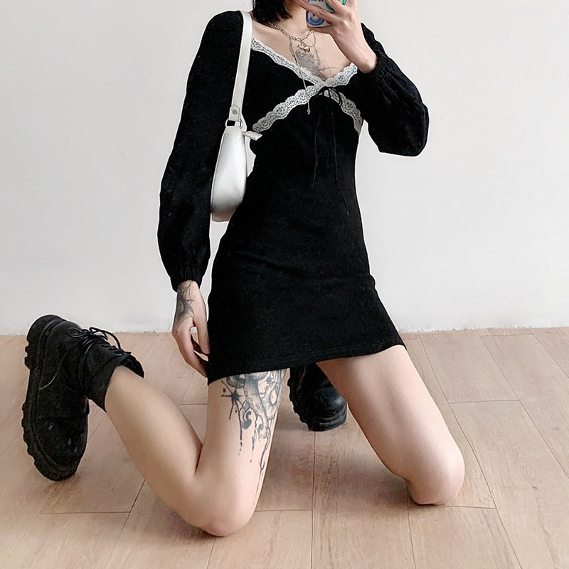 Long Sleeve Bodycon Lace Black Dress