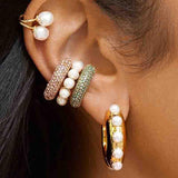 Pearl CZ Diamond Pearl Ear Cuff Stackable