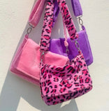 Leopard Messenger Bags White Pink Purple