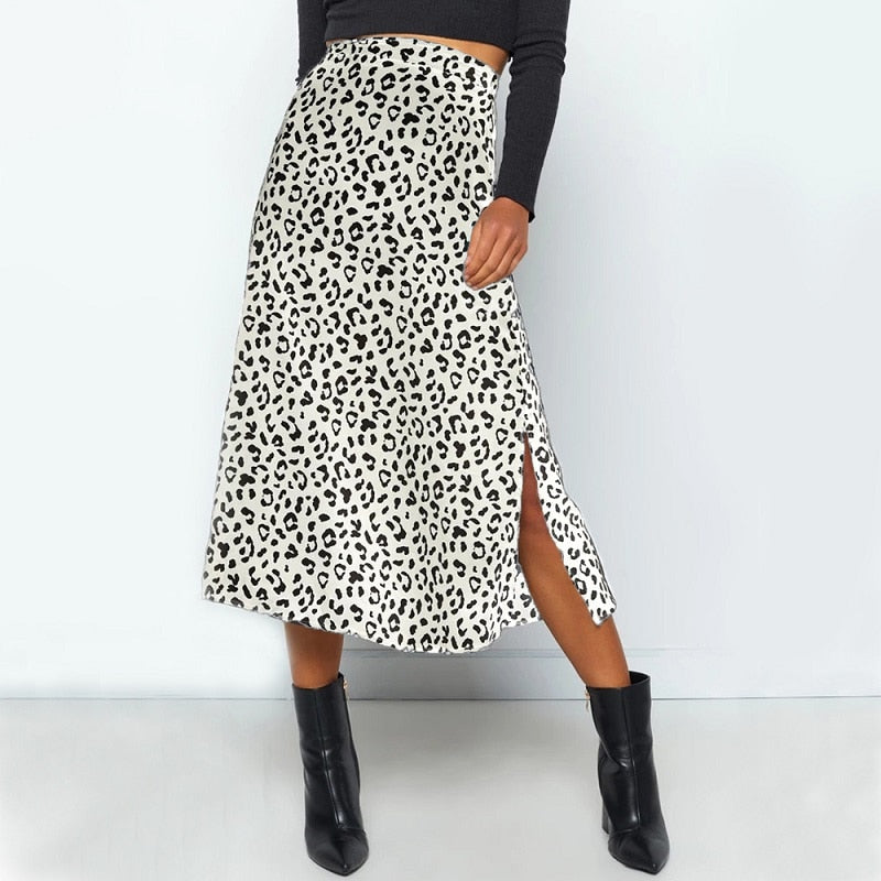 Women Leopard Split Midi Skirt Chic Summer Style Skirt