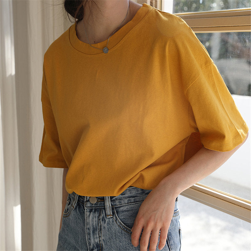Women Minimalist Style Casual Tshirt Chic Loose Cotton Tee