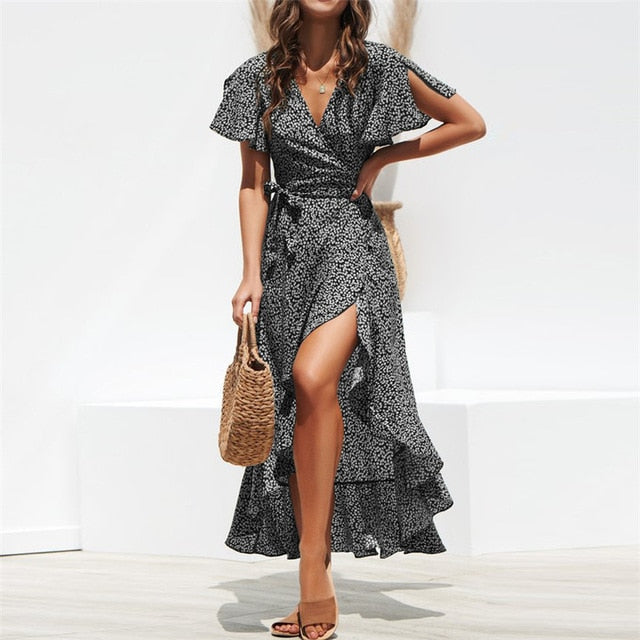 Summer Beach Maxi Dress Women Floral Print Boho Long Chiffon Dress Ruffles Wrap Casual V-Neck Split Sexy Party Dress Robe