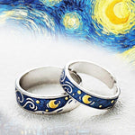 "Load image into Gallery viewer, ""The Sun, Moon and stars"" Sterling Silver Rings Enamel Craft-Jewelry-luckinu"