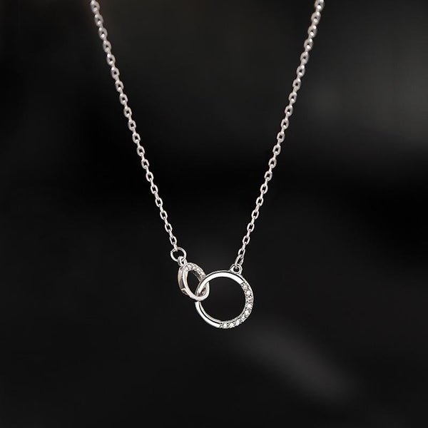 """Interlocking"" Sterling Silver Diamond Necklace-Jewelry-luckinu"