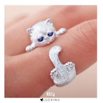 "Load image into Gallery viewer, ""Kitty"" Sterling Silver Cat Ring Adjustable-Jewelry-luckinu"
