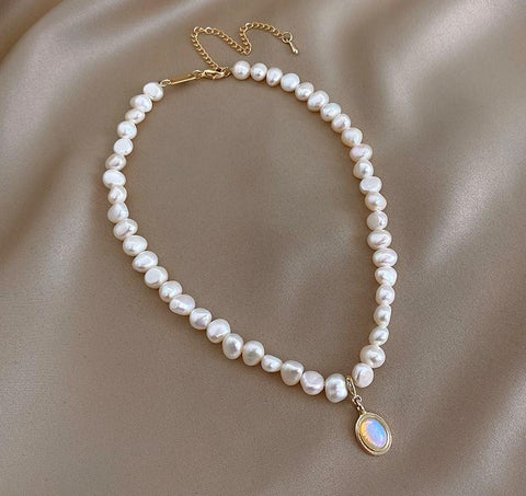 Moonstone Irregular Baroque Pearl Choker Necklace