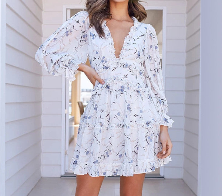 Layered Ruffle Deep V Neck Dress White Floral