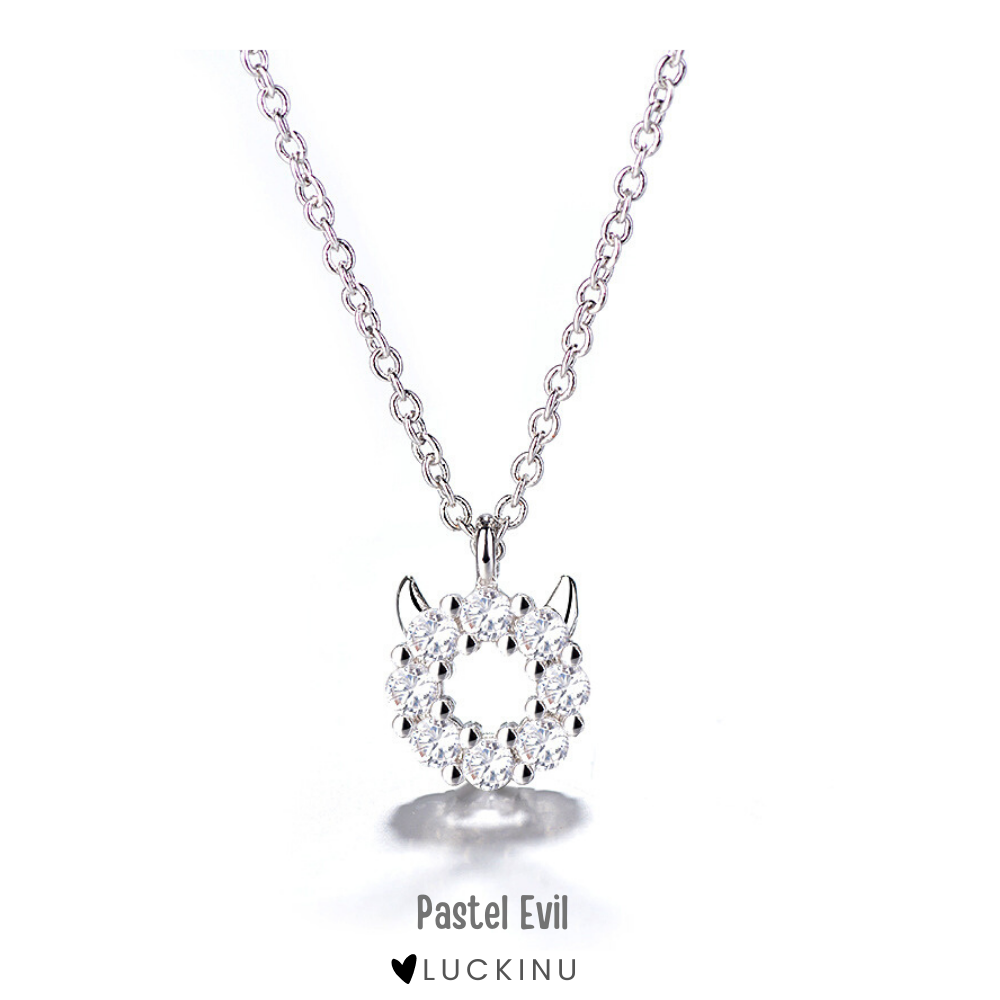 """Pastel Evil"" Sterling Silver Diamond Necklace"