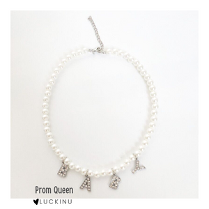 """Prom Queen"" Bling Letter Pearl Necklace-Jewelry-luckinu"
