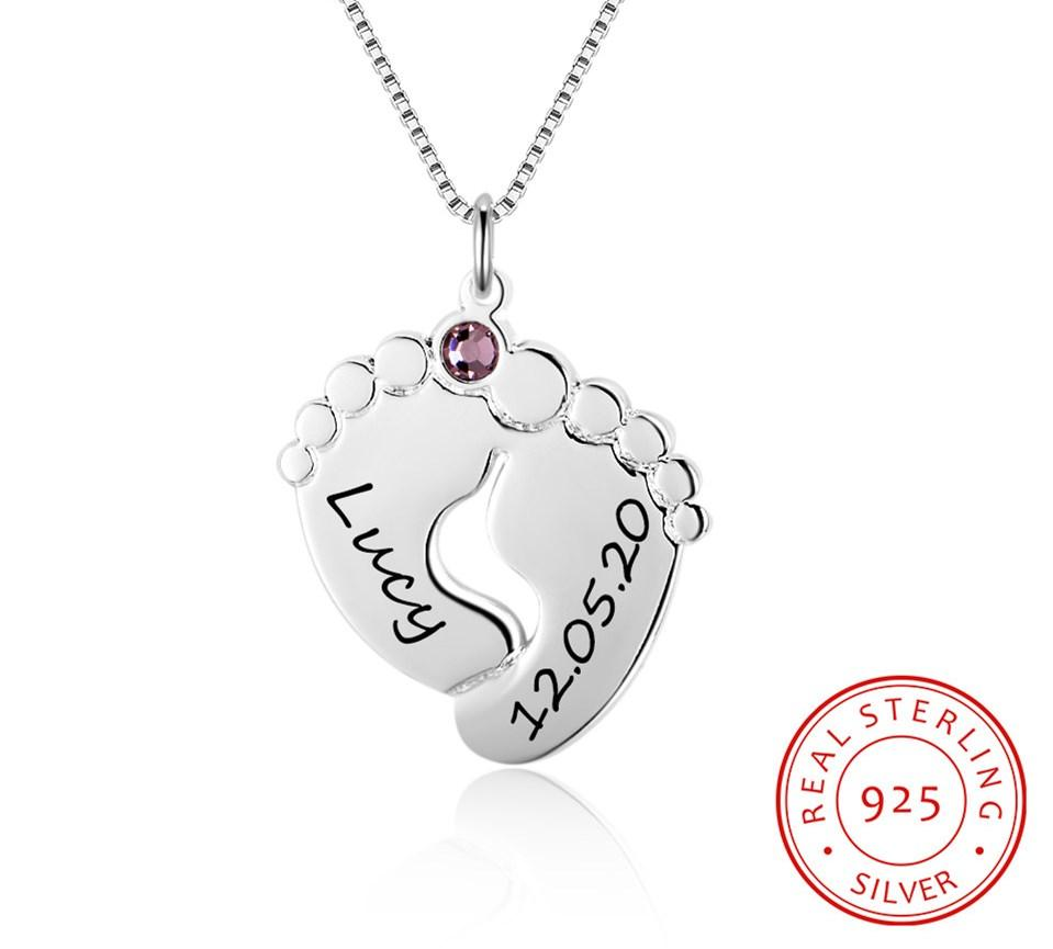 Sterling Silver Custom Birthstone Name Baby Feet Necklace