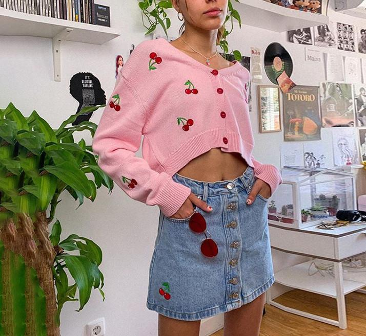 Women Cherry Cute Oversize Short Cardigan Sweater Spring Autumn Chic Y2K