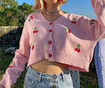 Load image into Gallery viewer, Cherry Oversize Crop Mini Cardigan