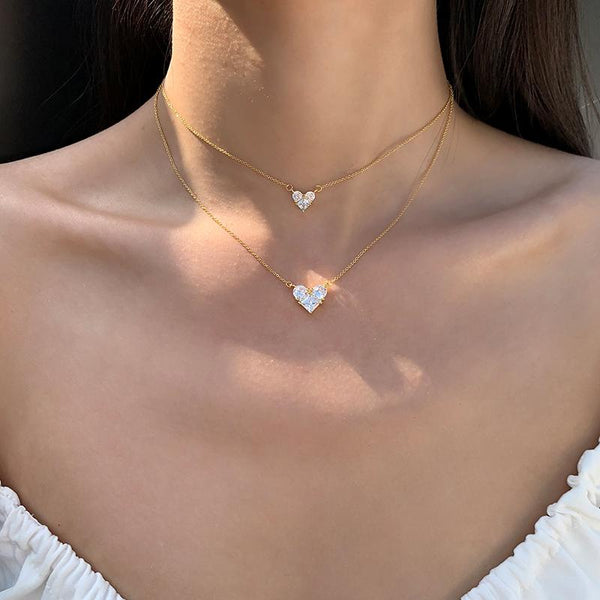 Sweet Heart CZ Diamond Necklace Minimalist