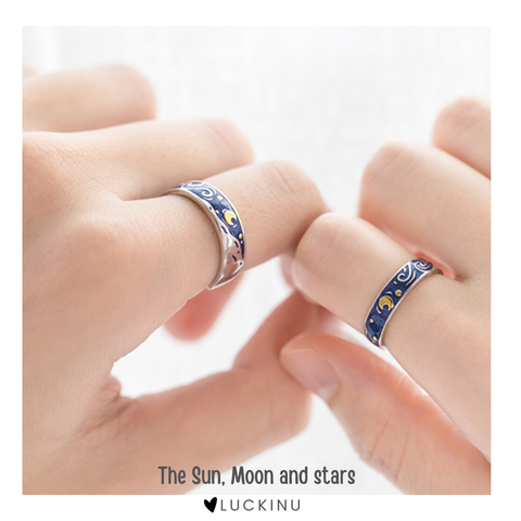 """The Sun, Moon and stars"" Sterling Silver Rings Enamel Craft-Jewelry-luckinu"