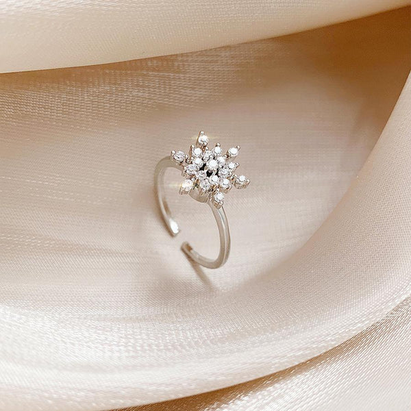 """Bling Snowflake"" Rotatable Zircon Ring-Jewelry-luckinu"
