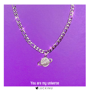 """You are my universe"" Crystal Planet Necklace-Jewelry-luckinu"