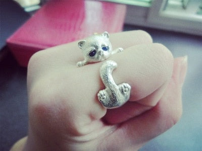 """Kitty"" Sterling Silver Cat Ring Adjustable-Jewelry-luckinu"