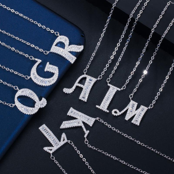"""Bling Name"" Crystal Initial Letter Necklace-Jewelry-luckinu"