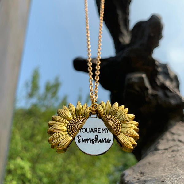 Sunflower Open Locket Statement Necklace with gift box