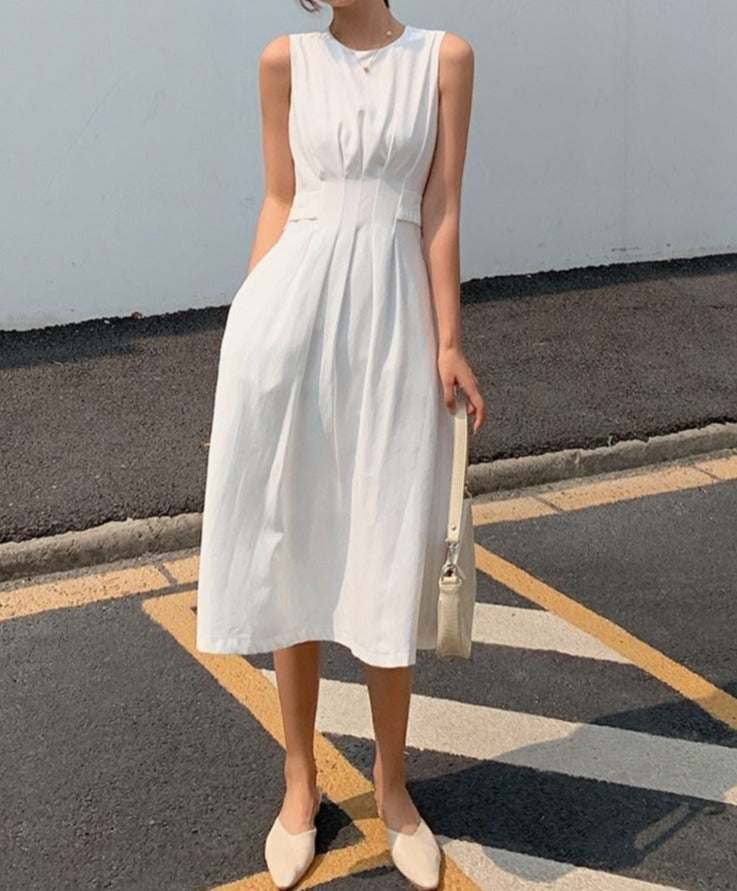 Women Minimal Gentle Chic Hepburn Style Elegant Dress Sleeveless