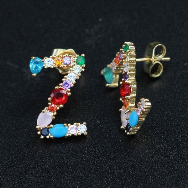 Charm Letter CZ Diamond Mix color Earring