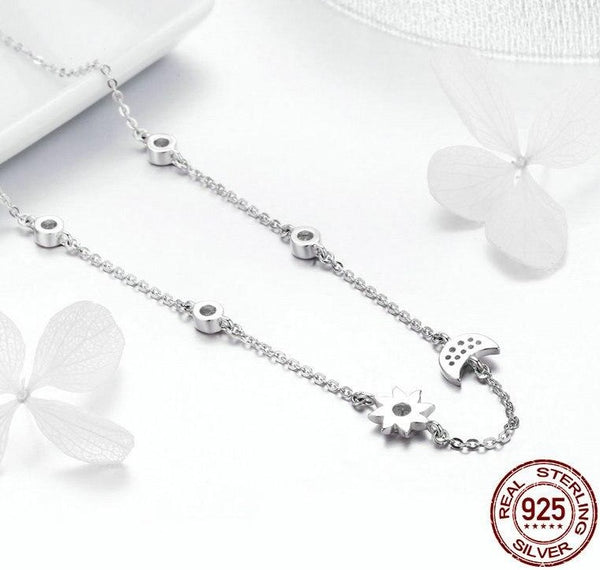 Women S925 Sterling Silver Moon Star Necklace CZ Diamond Valentines Day Gift Ideas