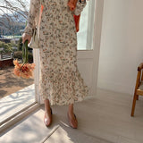 Women Spring Floral Chiffon Dress Long Sleeve Fresh Style