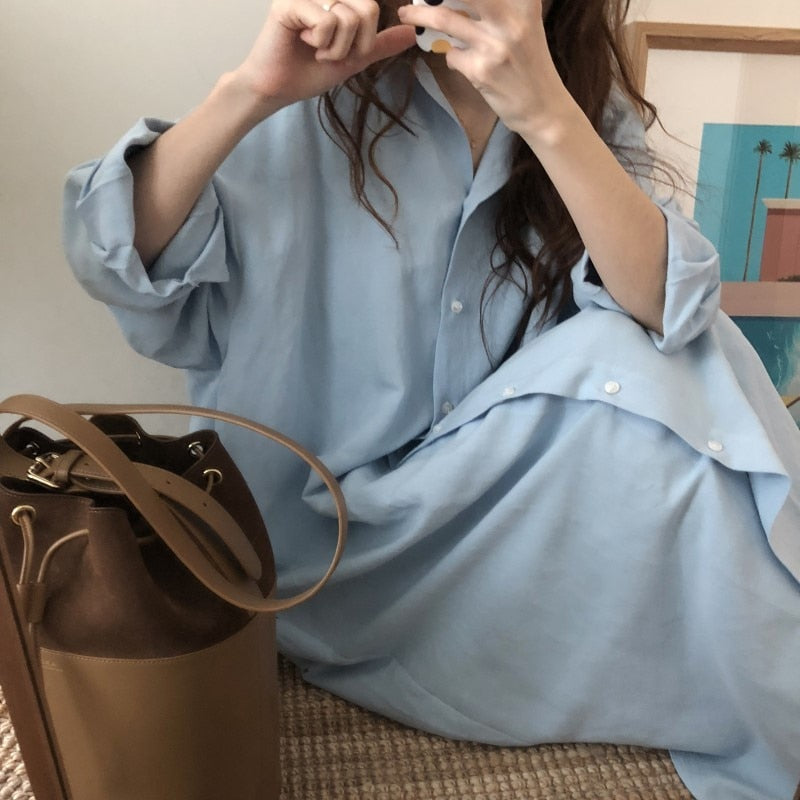 Women 2021 New Super Oversize Boyfriend Long Sleeve Shirt Dress