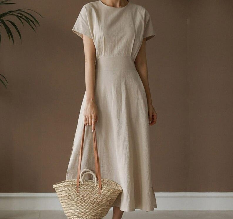 Women Minimal Long Linen T shirt Dress