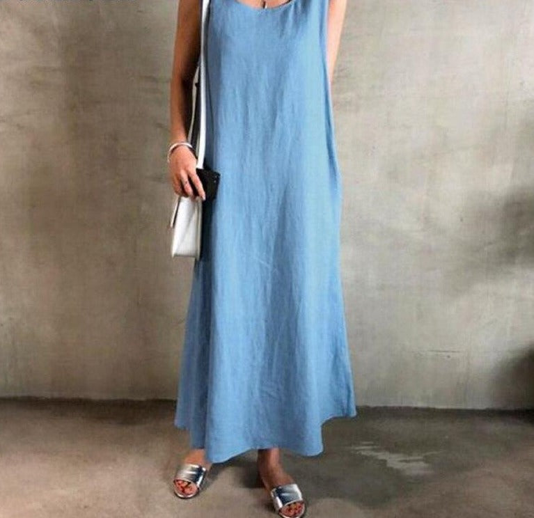 Women Long with Belt Holiday Dress Chic Fresh Style Sleeveless Dress
