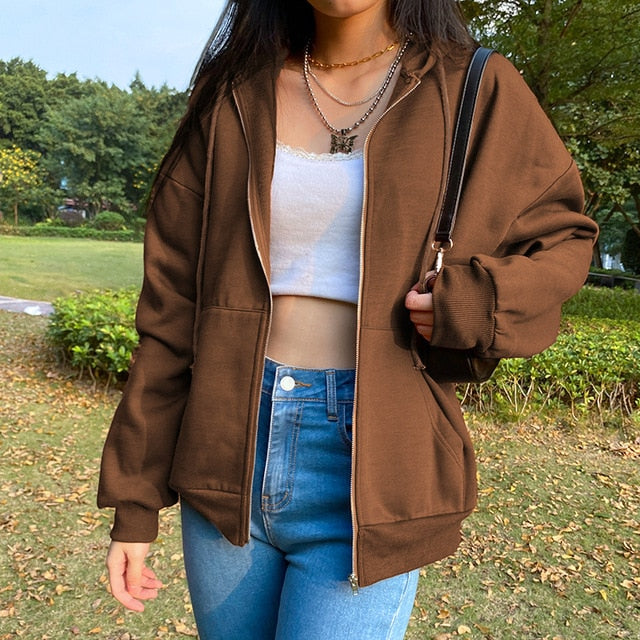 Women Brown Pocket Zipper Hoodie Jacket Oversized Cool Outfit