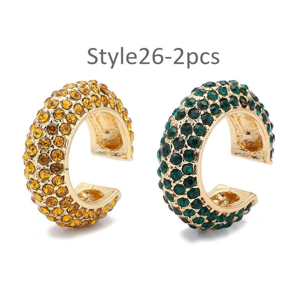 Style 26 CZ Diamond Big C Color Ear Cuff Stackable 2pcs/set