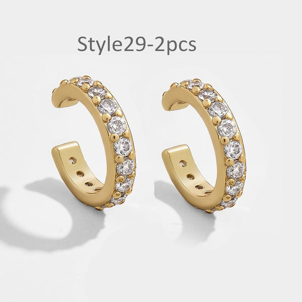 Style 29 CZ Diamond Big C Color Ear Cuff Stackable 2pcs/set